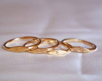 Gold signet ring, gold ring, signet initial ring, dainty ring, stackable ring, minimalist ring