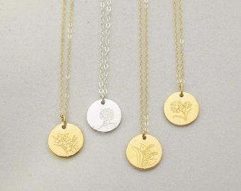 necklace stamp LINE FLORA