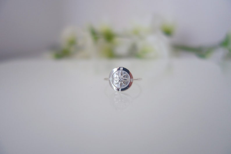 round disc ring Compass ring in sterling silver sterling silver ring dainty ring