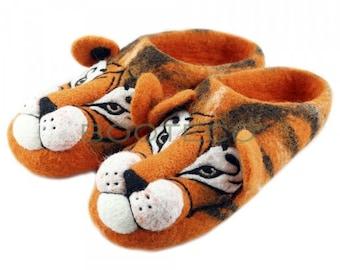 537f8cca2f7 Home Felt Slippers Tiger Orange 100% Wool Handmade Warm Cozy Home House  Shoes Gift Present White Animal Christmas Xmas Unisex Kids Boy Girl