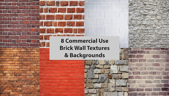 8 Commercial Use Brick Patterns Textures And Backgrounds Etsy
