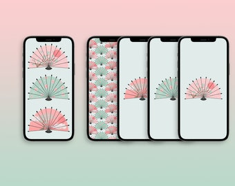 Japanese fans phone wallpaper - set of 5