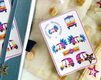 Groovy Rickshaw Printable mini stickers set