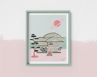 Off planet mid-century house printable art print
