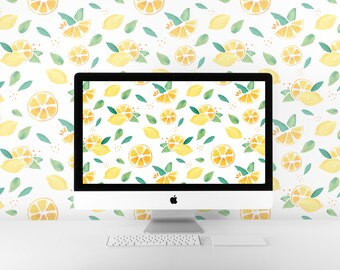 Lemon pattern wallpaper for laptop / desktop / iPad