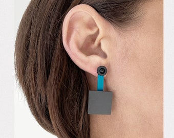 Sculptural earrings in Petrol and Gray  | Bold chunky geometric earrings | Modernist abstract earrings