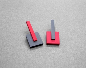 Red and Gray mismatched earrings | Bauhaus style wooden earrings | Modernist abstract earrings