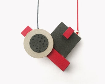 Red geometric necklace | Abstract art wooden pendant | Geometric statement necklace | Bauhaus necklace