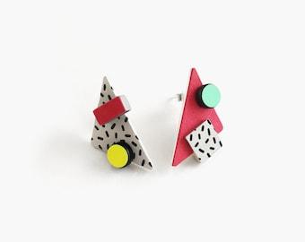 Mismatched earrings | Triangle pop earrings | Asymmetrical abstract art earrings | Mix and match geometric studs | Memphis earrings