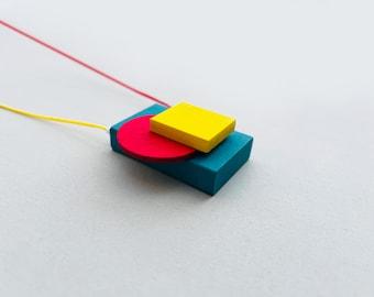 Geometric statement necklace | Multicolor Avant garde wooden pendant | Bauhaus necklace