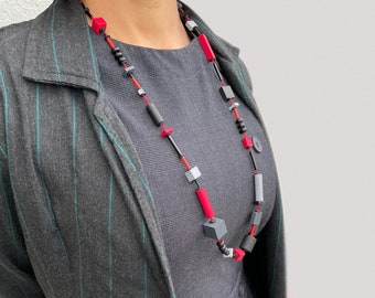 Long statement necklace in red and black | Abstract art wooden necklace | Geometric statement necklace | Bauhaus necklace