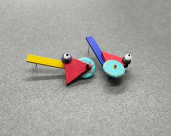Mismatched Memphis Milano style earrings | Asymmetrical abstract earrings | Mix and match graphic earrings