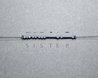Morse code bracelet Sister | Beaded Custom Name Hematite Bracelet