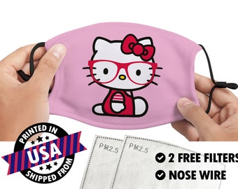 Hello Geeky Kitty Inspired Embroidered Mask