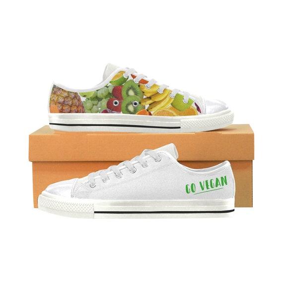 Go Vegan Shoes Fruits Vegetables Vegan Women Shoes Veganism Vegan Gift Fruit Sneakers