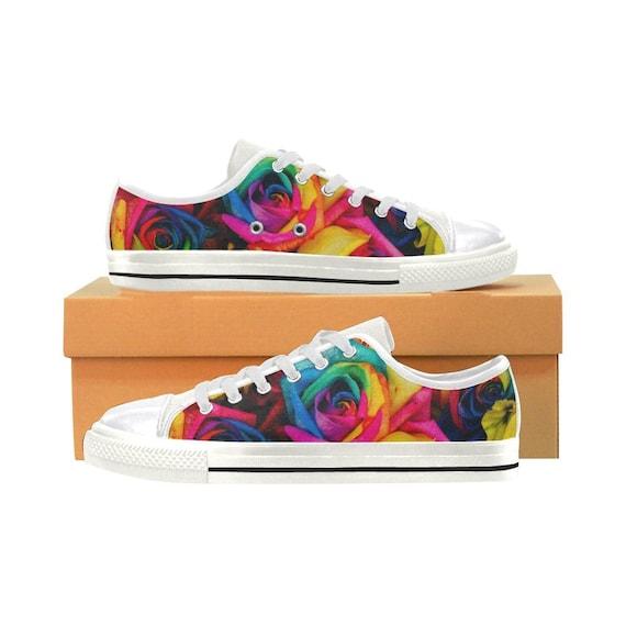 Fleur baskets - - - chaussures de fleur coloré - arc-en-fleurs - Floral Print - femmes Sneakers | être Nouvelle Dans La Conception  a49199
