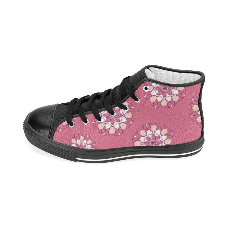 Flowers Hi Top Women Sneakers Pink Flower Shoes