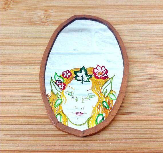 Woodland Fairy Mirror, Handmade Pocket Mirror