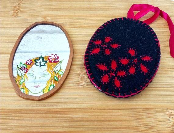 Woodland Fairy Mirror, Handmade Pocket Mirror - image 3