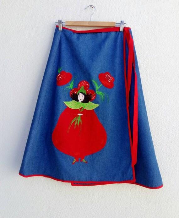 Denim Wrap Skirt, Hand Painted Skirt, Midi Poppy S