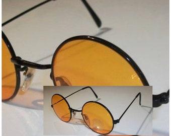92868a5409 Vintage John Lennon Style Yellow black round Sunglasses