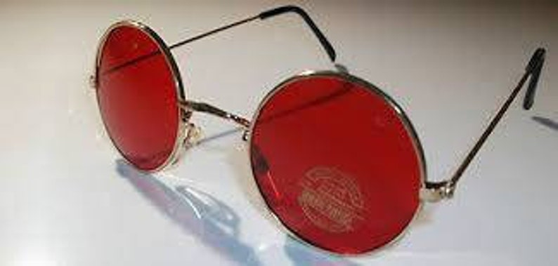 6a89c001e9a True Vintage John Lennon Style red lens gold Framing round