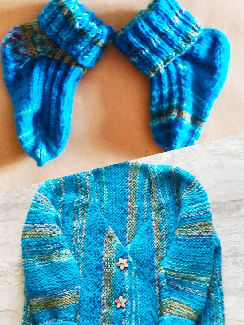Cardigan for baby, Custom made to order,Knitted SET baby jacket and socks