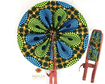 Windmill Style with Leather Trim Handle Gold Green Blue Black Fabric Kente Fabric African Foldable Round Fan African Wedding Fan
