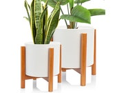 Set 2 Mid Century Modern Ceramic Planters with Stand 8 Inch 6 Inch Diameter, White Plant Pots with Wood Stand, with Drainage and a Plug