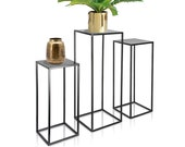 Set of 3 Metal Mid Century Plant Stand, Nesting Display End Table, Square Rack Flower Holder, Black Planter Pot Rack, Tall Tiered Decor Tray