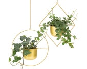 Set 2 Gold Geometric Hanging Planter, Best Christmas Gift, Home Decor for Christmas, Modern Ceiling Hanging Pot, Brass Gold Boho Plant Decor