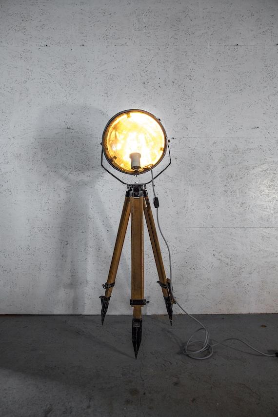official photos e5c43 b2441 Wooden Industrial Tripod Floor Lamp Vintage Lamp brushed steel Vintage  Lightning Vintage Tripod Floor Lamp