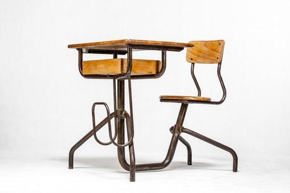 Vintage School Desk And Chair Vintage Metal And Wood Desk Etsy