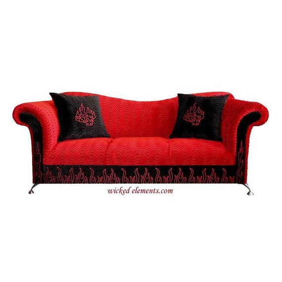 Awe Inspiring Rockstar Sofa Custom Sofa Black Red Sofa Flames Sofa Red Sofa Custom Couch Bralicious Painted Fabric Chair Ideas Braliciousco