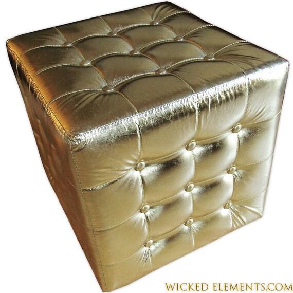 Stupendous Miami Gold Ottoman Tufted Ottoman Gold Cube Seat Cubed Ottoman Customarchery Wood Chair Design Ideas Customarcherynet