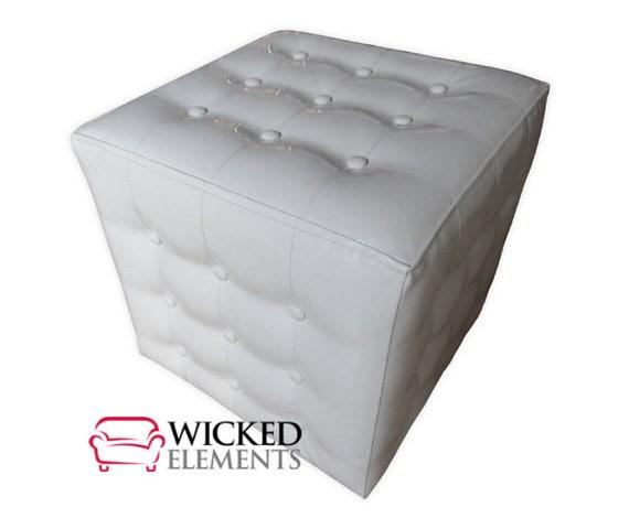 Strange White Faux Leather Ottoman Tufted Ottoman Cube Ottoman Creativecarmelina Interior Chair Design Creativecarmelinacom