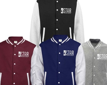 Novelty Star Laboratories Top The Flash S.T.A.R. Labs Printed Varsity Jacket Boys Girls Mens Kids Unisex