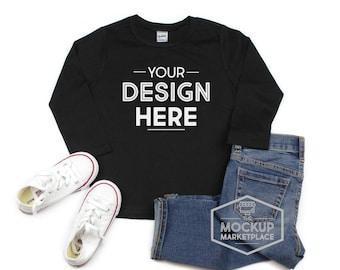 bf5a03d9b Kavio Long Sleeve Tee Mockup Black - Unisex Crew Neck T-shirt Flat Lay -