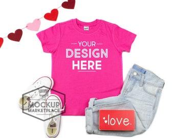 Download Free Kavio Tee Valentine's Day Mockup Hot Pink - Unisex Crew Neck T-shirt Flat Lay - Valentine's Day Mockup - Pink Tee Mockup PSD Template