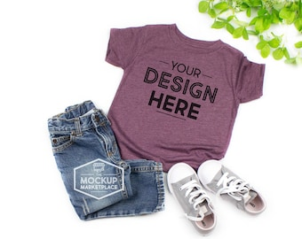 eb1f39866 Bella Canvas 3001T Heather Maroon Unisex Toddler T-Shirt Mockup - Bella +  Canvas Flat Lay - Child Tee Mockup - Blank Shirt for Designs
