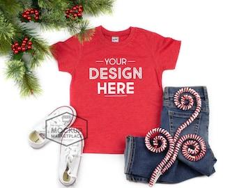 fe83a480 Kavio Tee Mockup Heather Red Christmas Theme - Unisex Crew Neck T-shirt  Flat Lay - Kids Christmas Tees Mockup