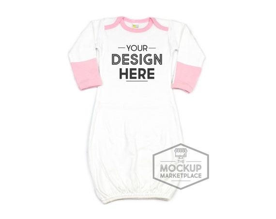Free Laughing Giraffe Baby Ringer Gown Mockup Pink