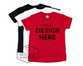 f439e83e4 Kavio Tee Stack Mockup Black, White, and Red - Unisex Crew Neck T-shirt  Flat Lay - Valentine's Day Mockup - Christmas Mockup