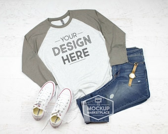 Download Free Next Level 6051 Adult Raglan Mockup - Vintage Grey and Heather White Unisex Raglan Flat Lay - Gray Sleeve Baseball Style Shirt Mock Up PSD Template