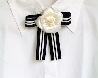 c4bf11d57 Cream white camellia brooch, Navy and white strip bow tie, Designer  inspired, Ivory flower broach, Women classic style, Minimalist, Gift