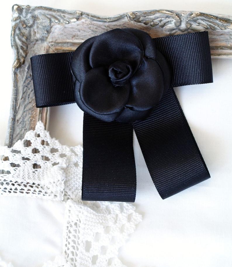 Designer inspired Camellias Black camelia broach Camellia bow brooch necktie women Modern brooches Black flower pin Ribbon bow tie