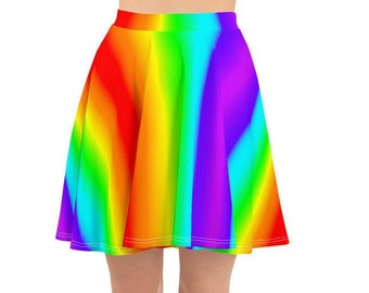 New Rainbow Skater Jupes Femmes Évasée Mini Jupe LGBT GAY PRIDE Fancy Dress