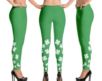f8ee8b569c Irish Four Leaf Clover Leggings | St Patrick's Day St Paddy's Day Shamrock  Women's Tights Ireland Saint Patrick's Day Run Festival Fashion