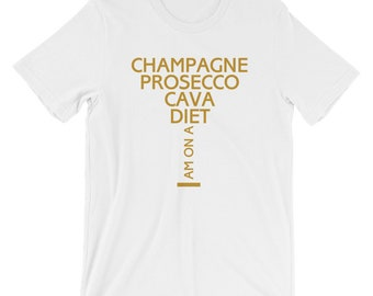b19661292f Champagne Diet Shirt, Funny Champagne Shirt, Champagne Party Tee, Wine Shirt,  Womens Drinking Shirts, Prosecco Gifts, Party Shirts,