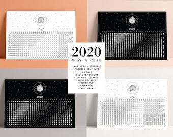 Calendario Lunare 2020 2020.Articoli Simili A Luna Calendario 2019 Su Etsy